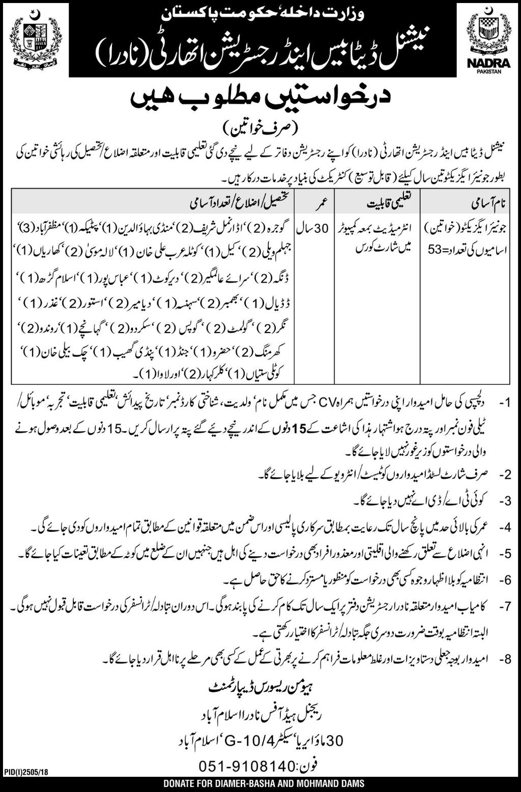 Ministry of Interior Jobs 2018 NADRA Islamabad
