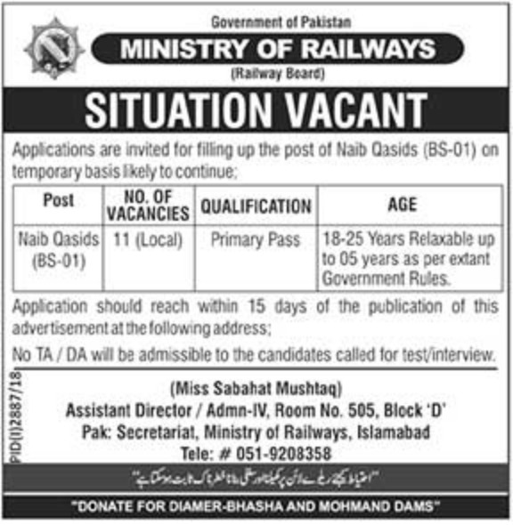 Ministry of Railways Jobs 2018 Naib Qasid