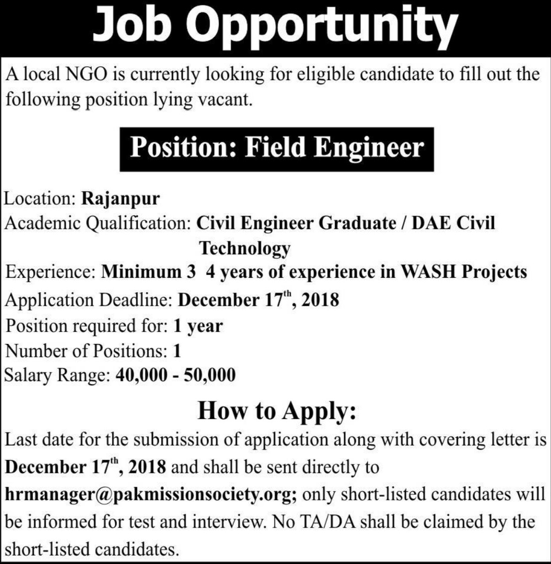 NGO Jobs Pakistan 2018 Latest