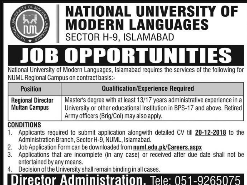 NUML Jobs 2018 National University of Modern Languages