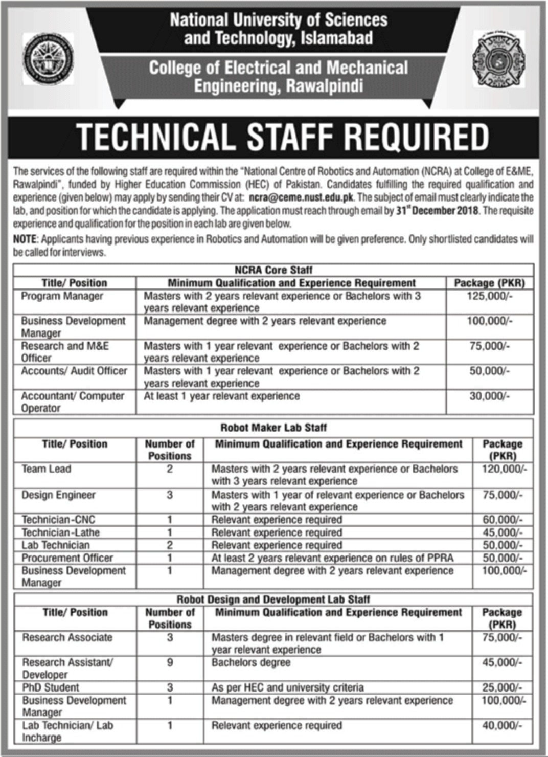 National University of Sciences & Technology Islamabad Jobs 2018
