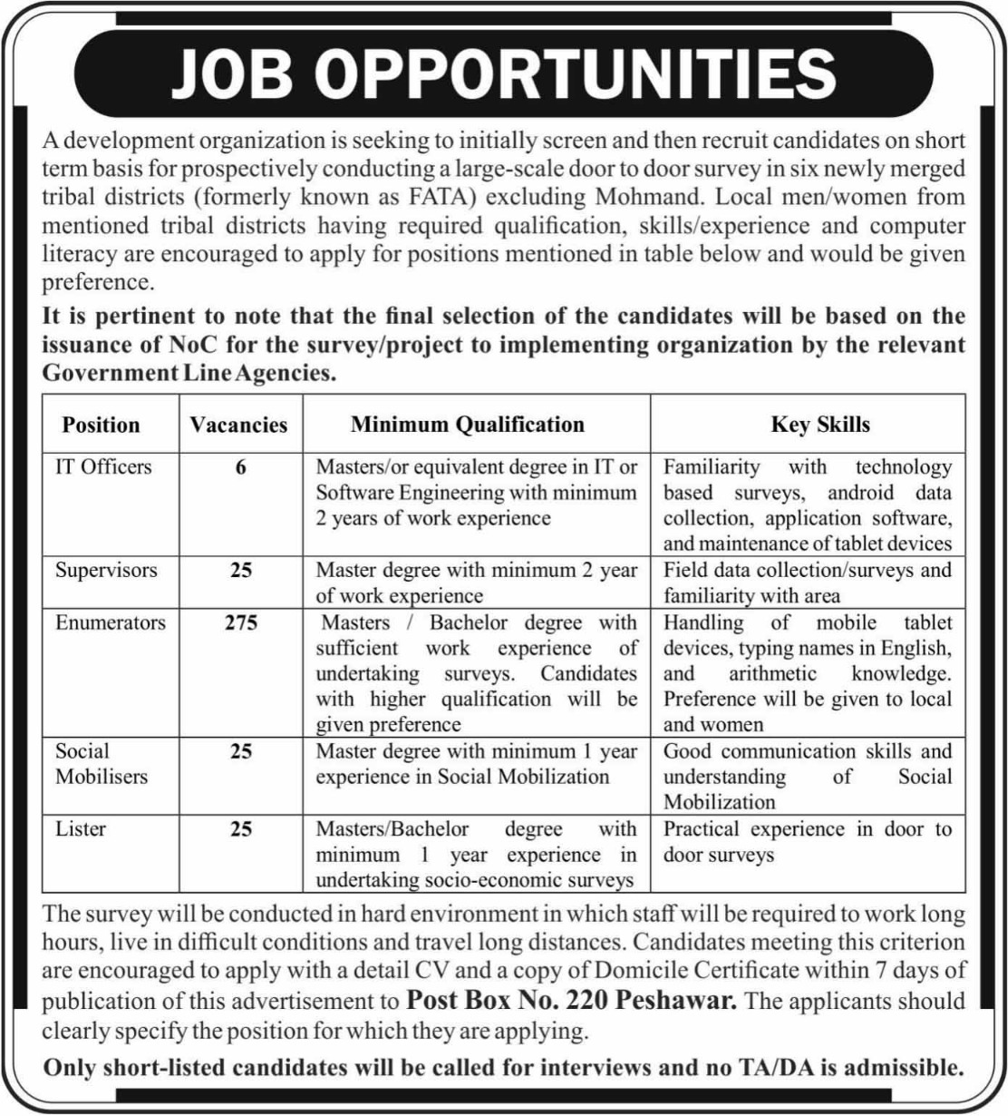 P.O.Box 220 Peshawar Jobs 2018 Latest