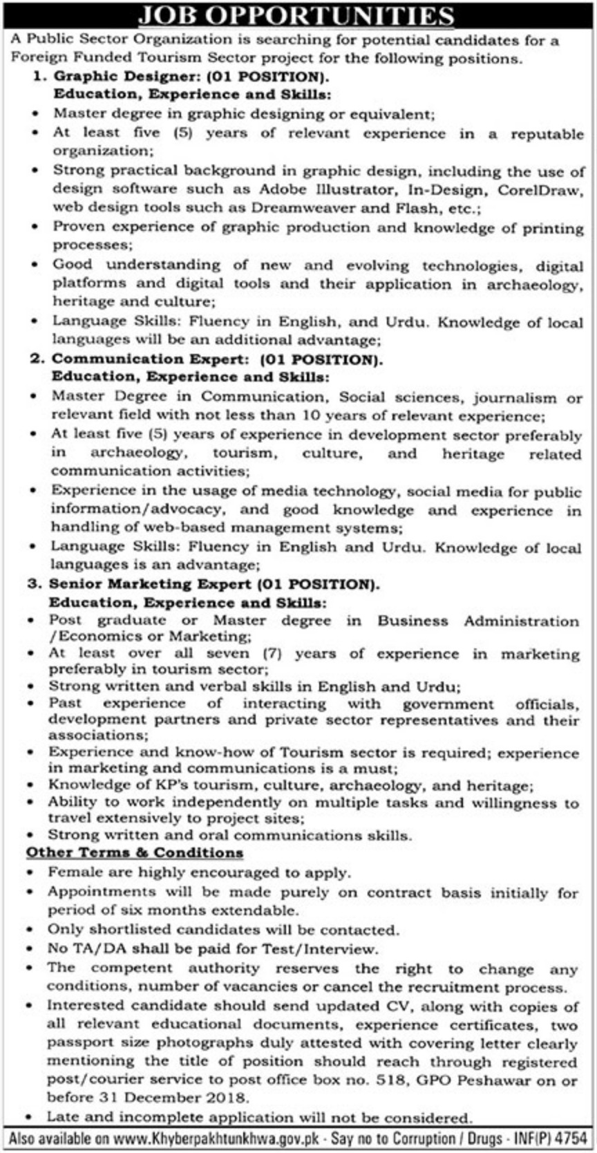 P.O.Box 518 Peshawar Jobs 2018 Public Sector Organization