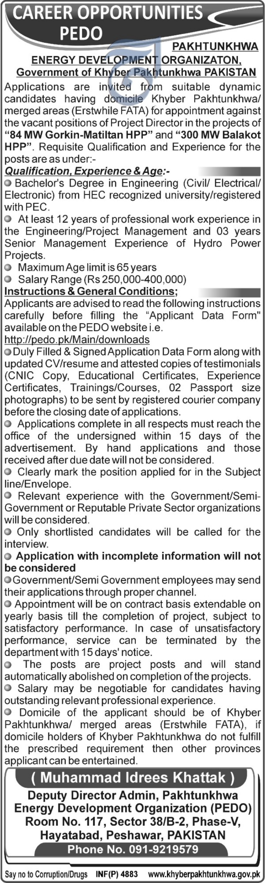 PEDO Jobs 2018 Pakhtunkhwa Energy Development Organization