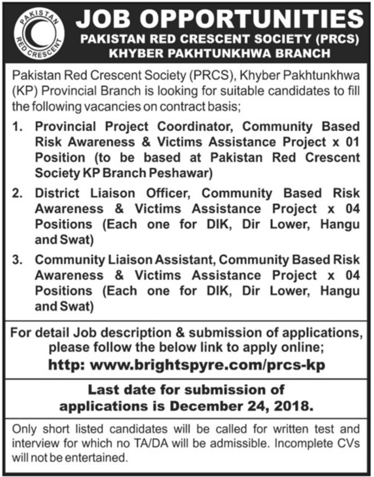PRCS KPK Jobs 2018 Pakistan Red Crescent Society
