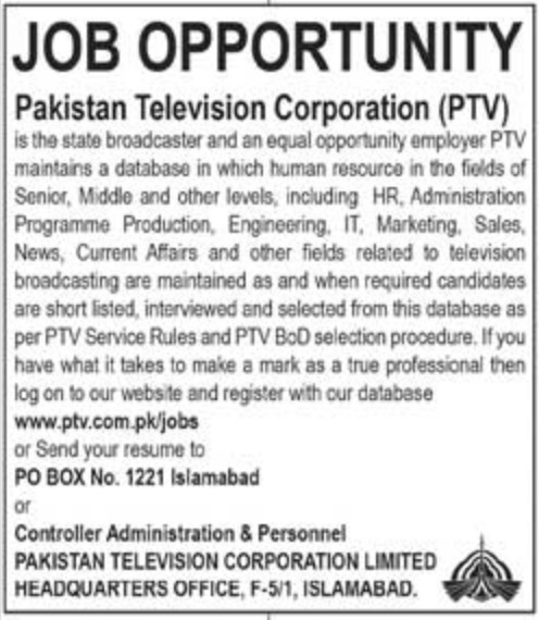 PTV Jobs 2018 Pakistan Television Corporation