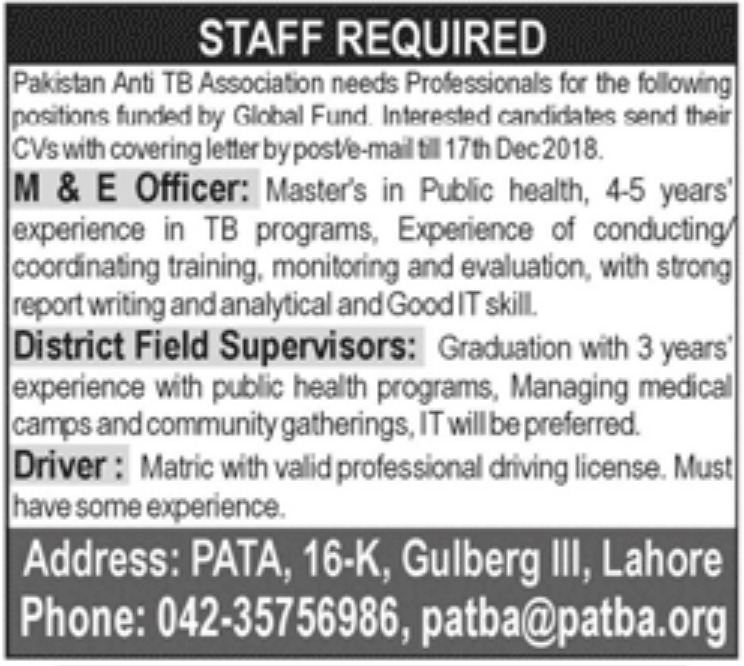 Pakistan Anti TB Association Lahore Jobs 2018