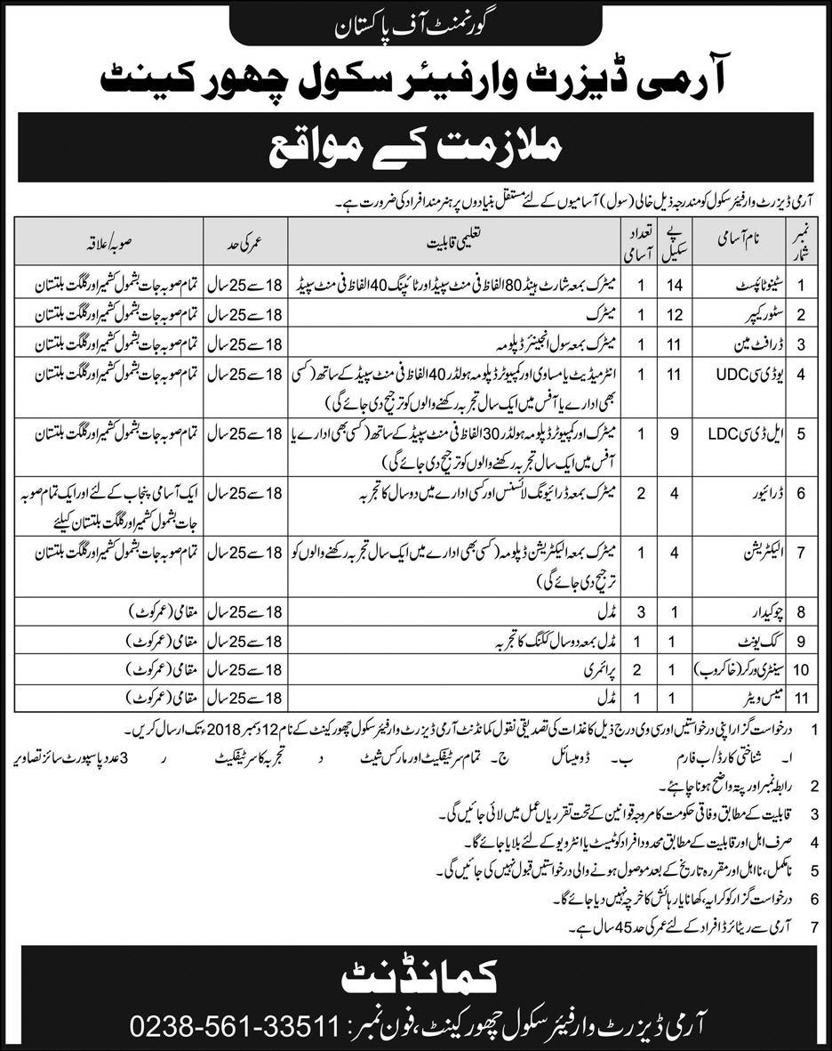 Pakistan Army Jobs 2018 Army Desert Warfare School - PaperPk Jobs