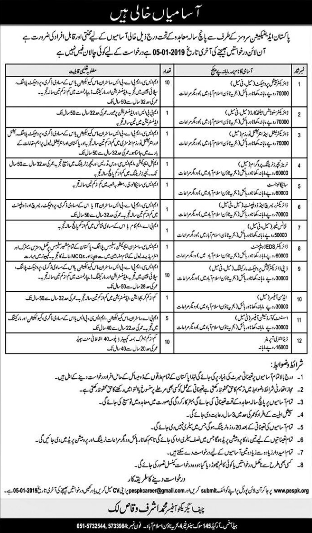 Pakistan Edification Services Jobs 2018 Latest