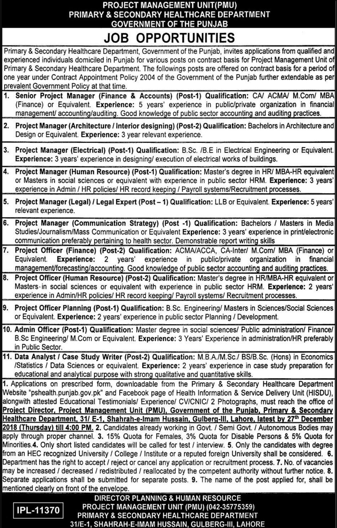 Primary & Secondary Healthcare Department Punjab Jobs 2018