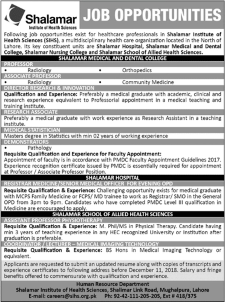 SIHS Lahore Jobs 2018 Shalamar Institute of Health Sciences