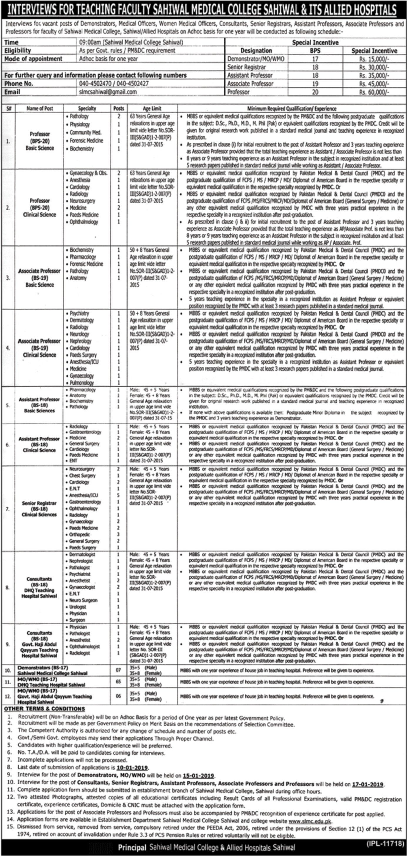 Sahiwal Medical College & Allied Hospitals Jobs 2018