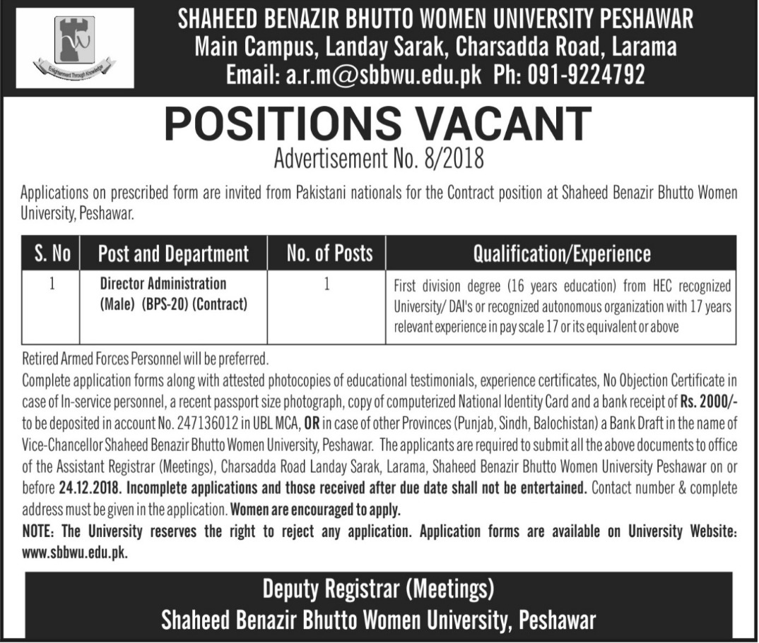 Shaheed Benazir Bhutto Women University Peshawar Jobs 2018