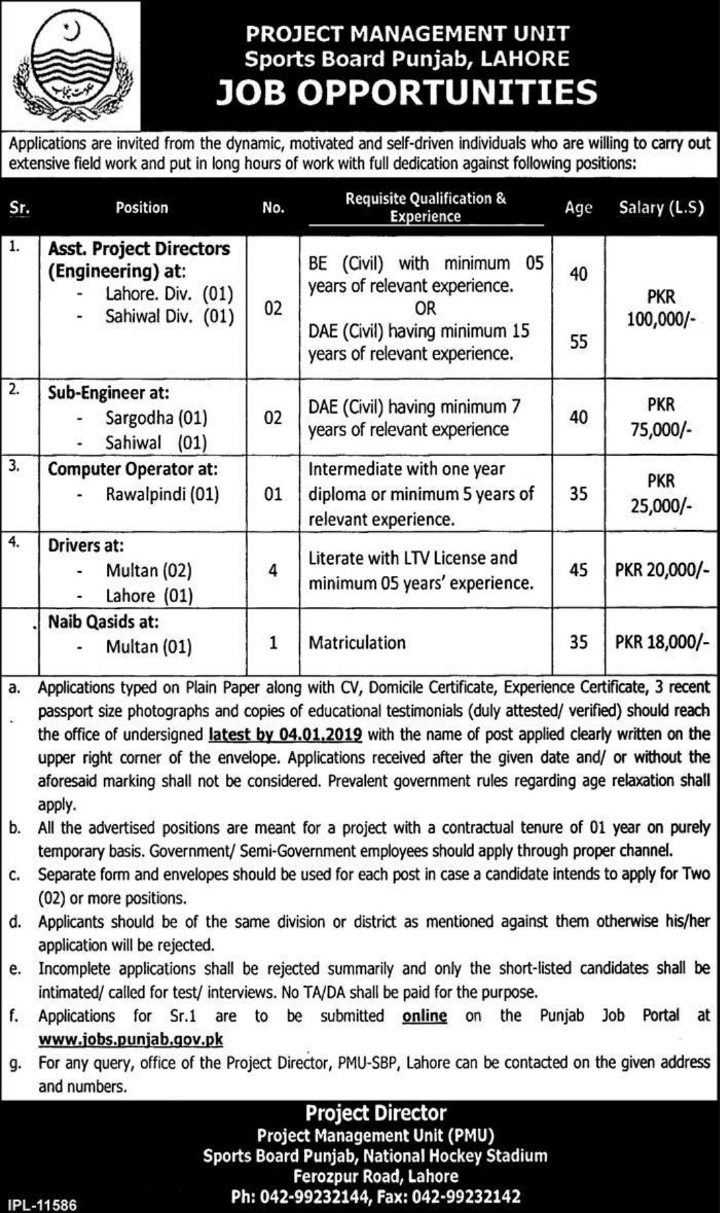 Sports Board Punjab Lahore Jobs 2018