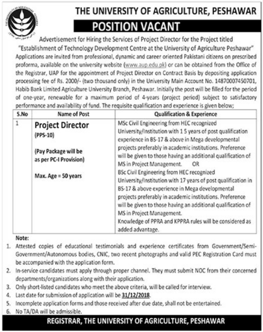 University of Agriculture Peshawar Jobs 2018