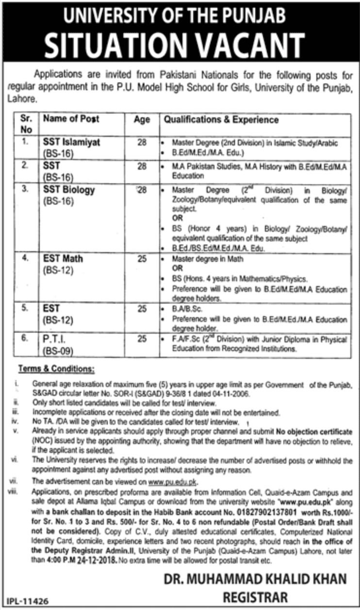 University of Punjab Lahore Jobs 2018