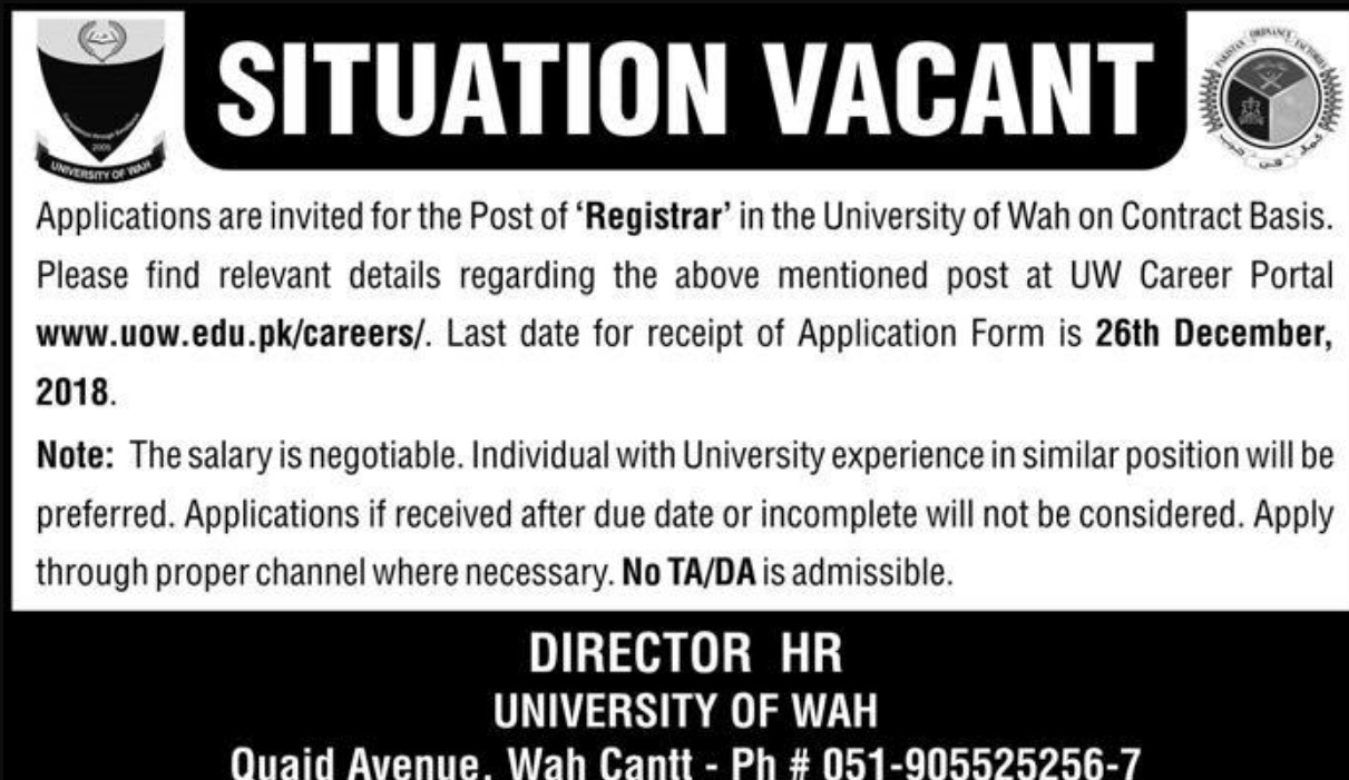 University of Wah Jobs 2018 Latest