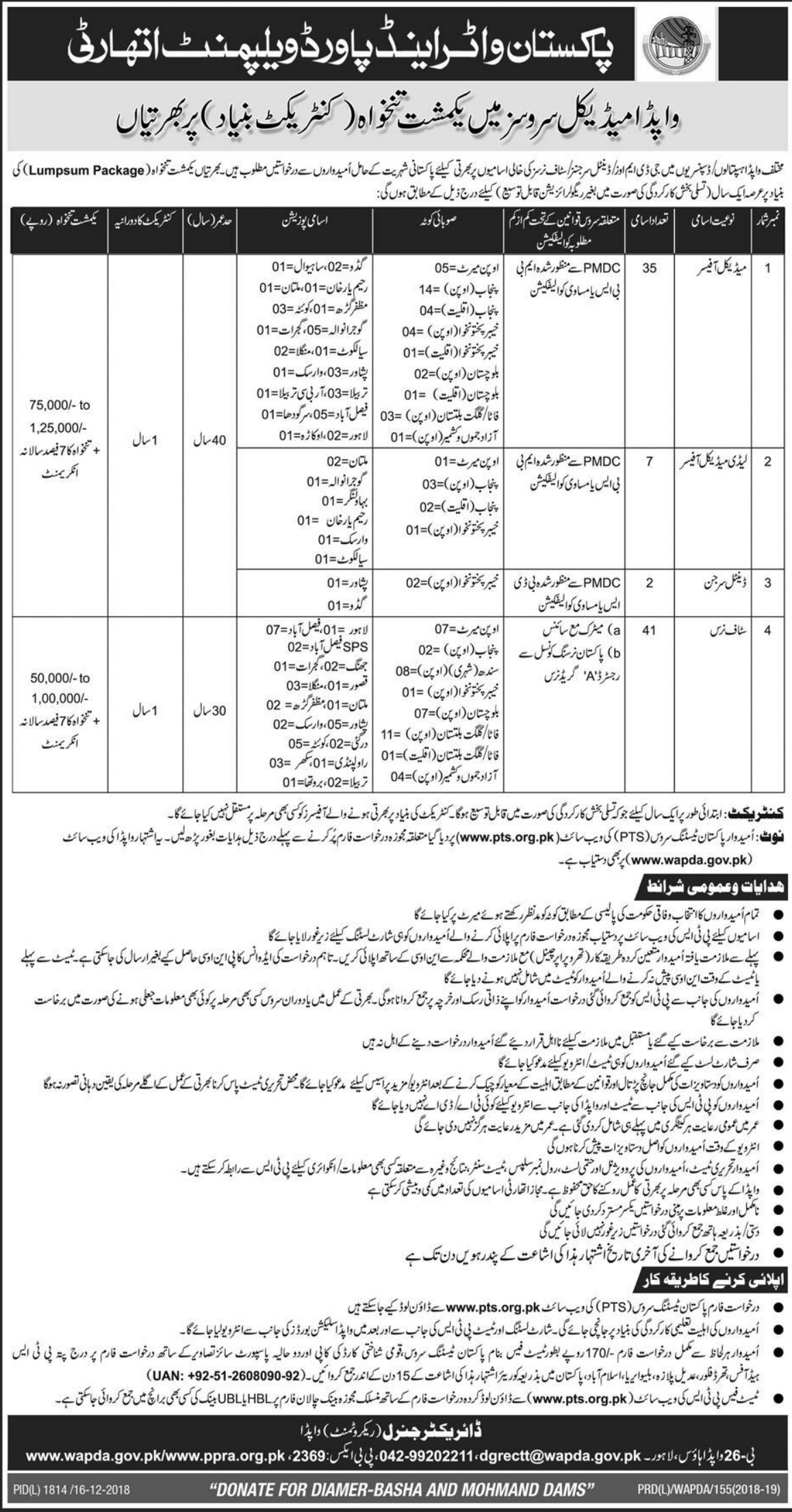 WAPDA Jobs 2018 Wapda Medical Services