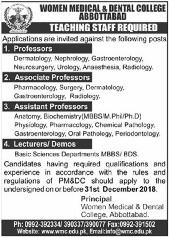Women Medical & Dental College Abbottabad Jobs 2018