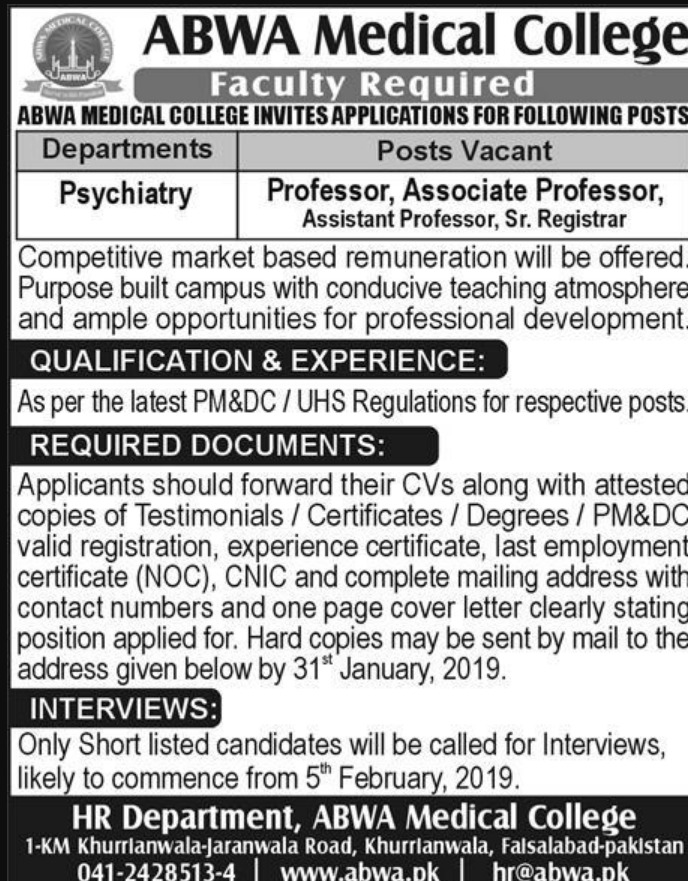 Abwa Medical College Faisalabad Jobs 2019