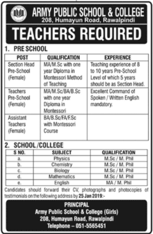 Army Public School & College Rawalpindi Jobs 2019