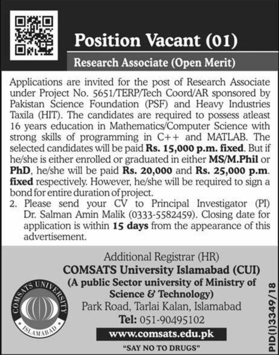 Comsats University Islamabad Jobs 2019 CUI