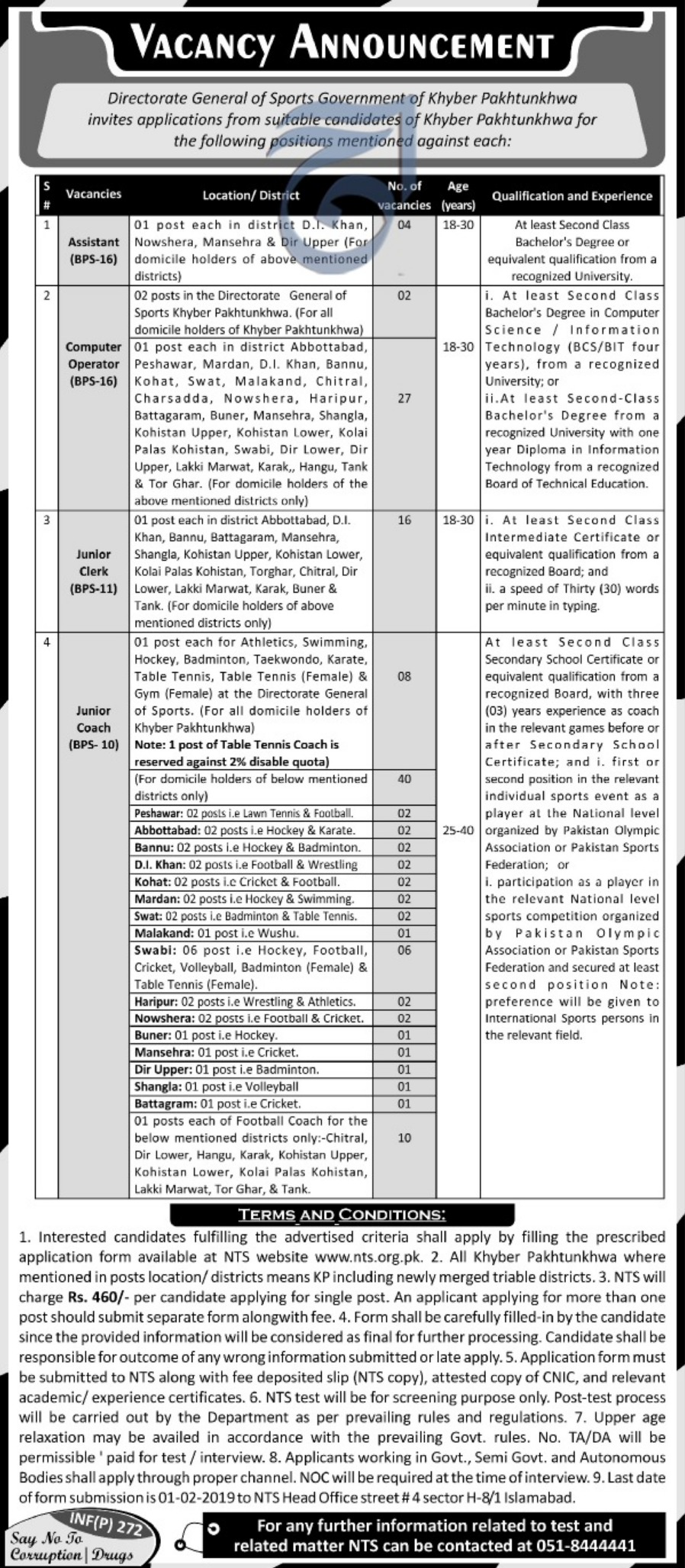 Directorate General Sports Peshawar Jobs 2019 KPK