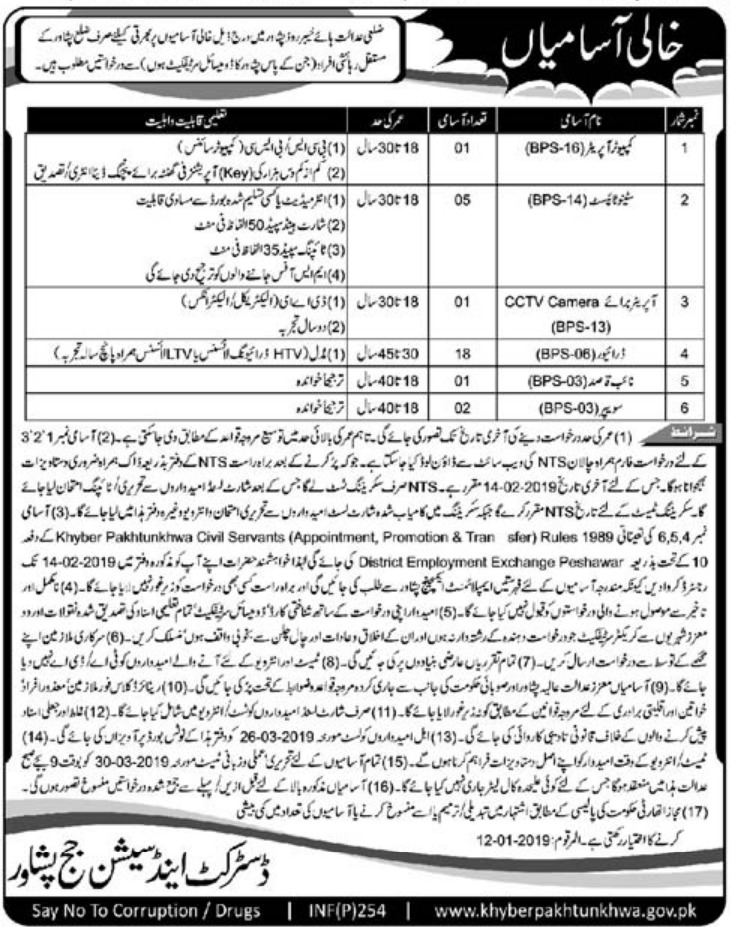 District & Session Court Peshawar Jobs 2019 KPK