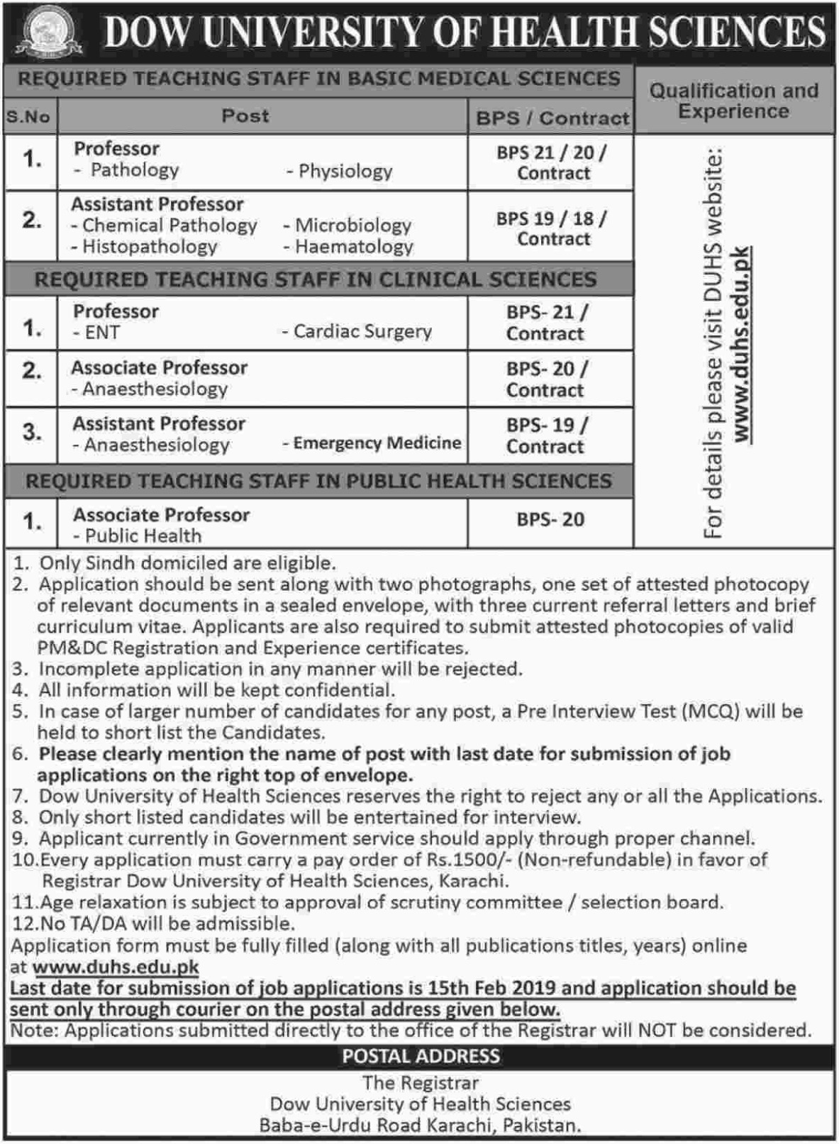 Dow University of Health Sciences Jobs 2019 Latest