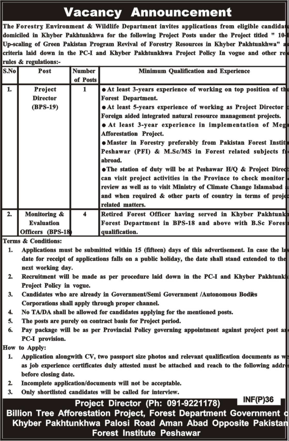 Forestry Environment & Wildlife Department Peshawar KPK Jobs 2019