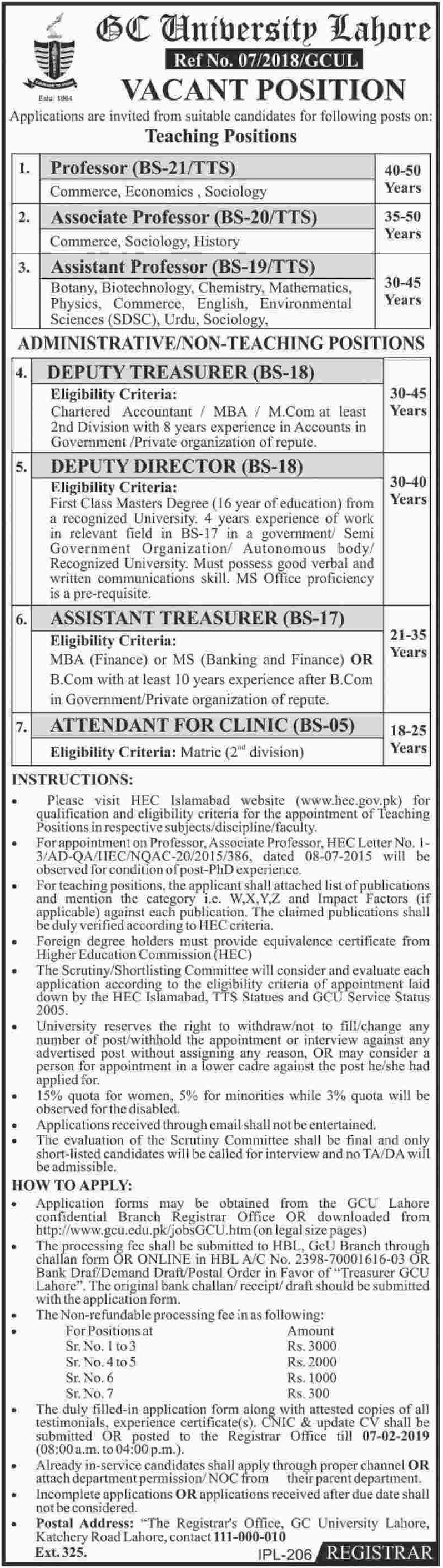 GC University Lahore Jobs 2019 Latest