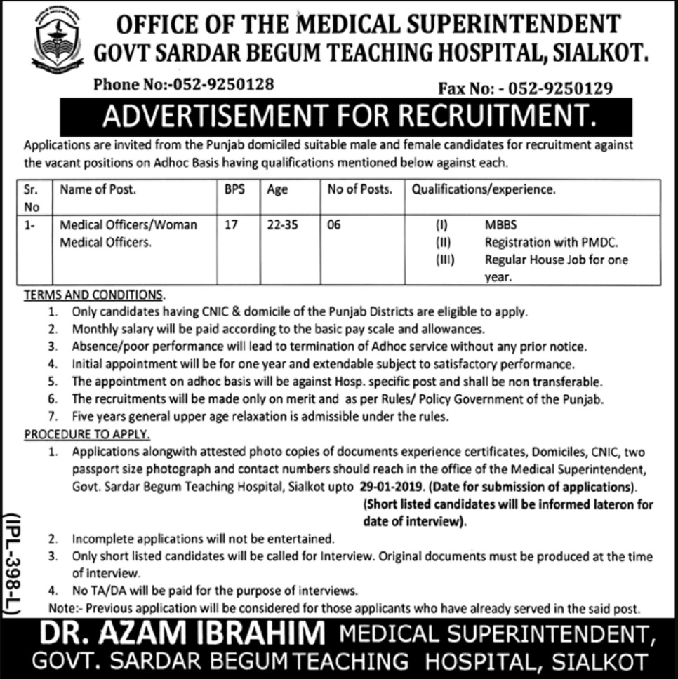 Govt Sardar Begum Teaching Hospital Sialkot Jobs 2019