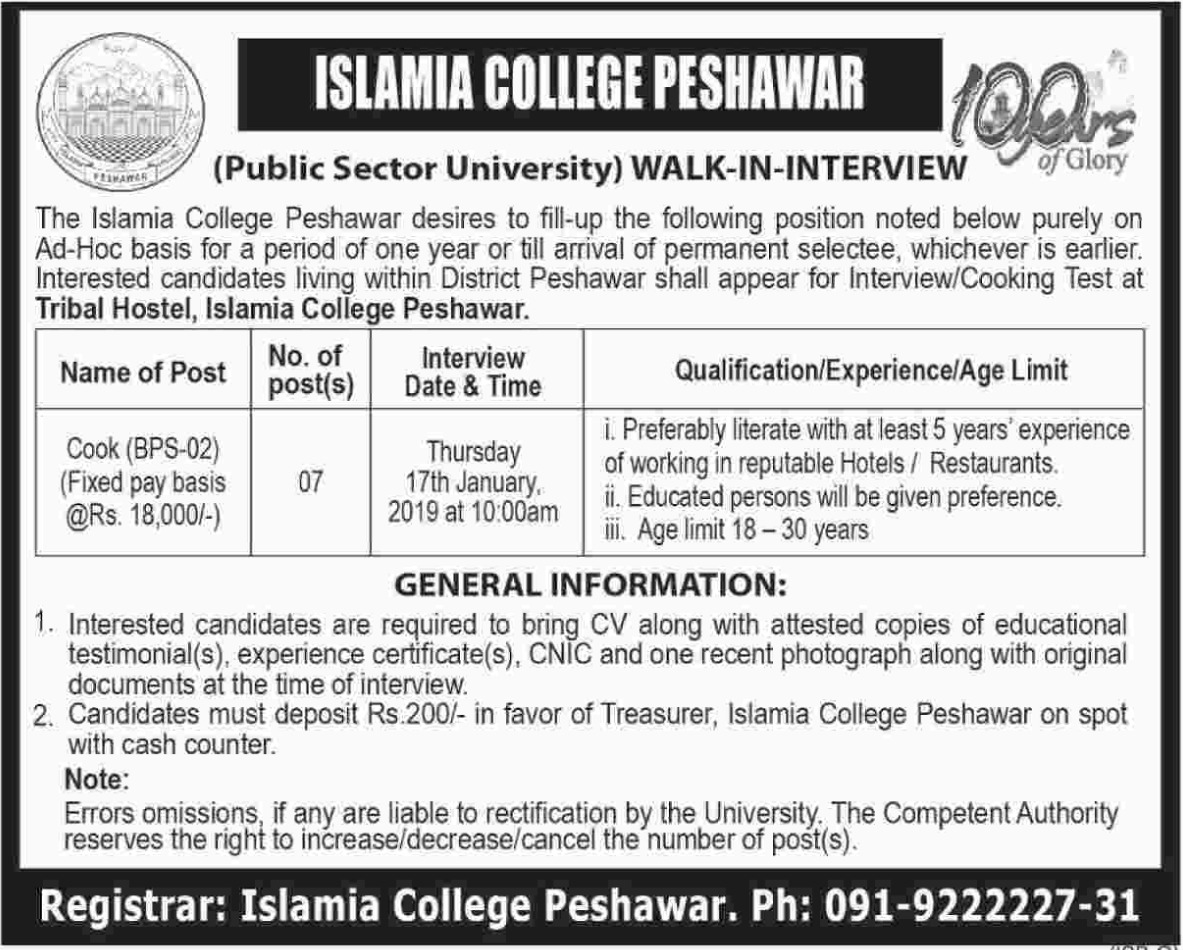 Islamia College Peshawar Jobs 2019 Latest