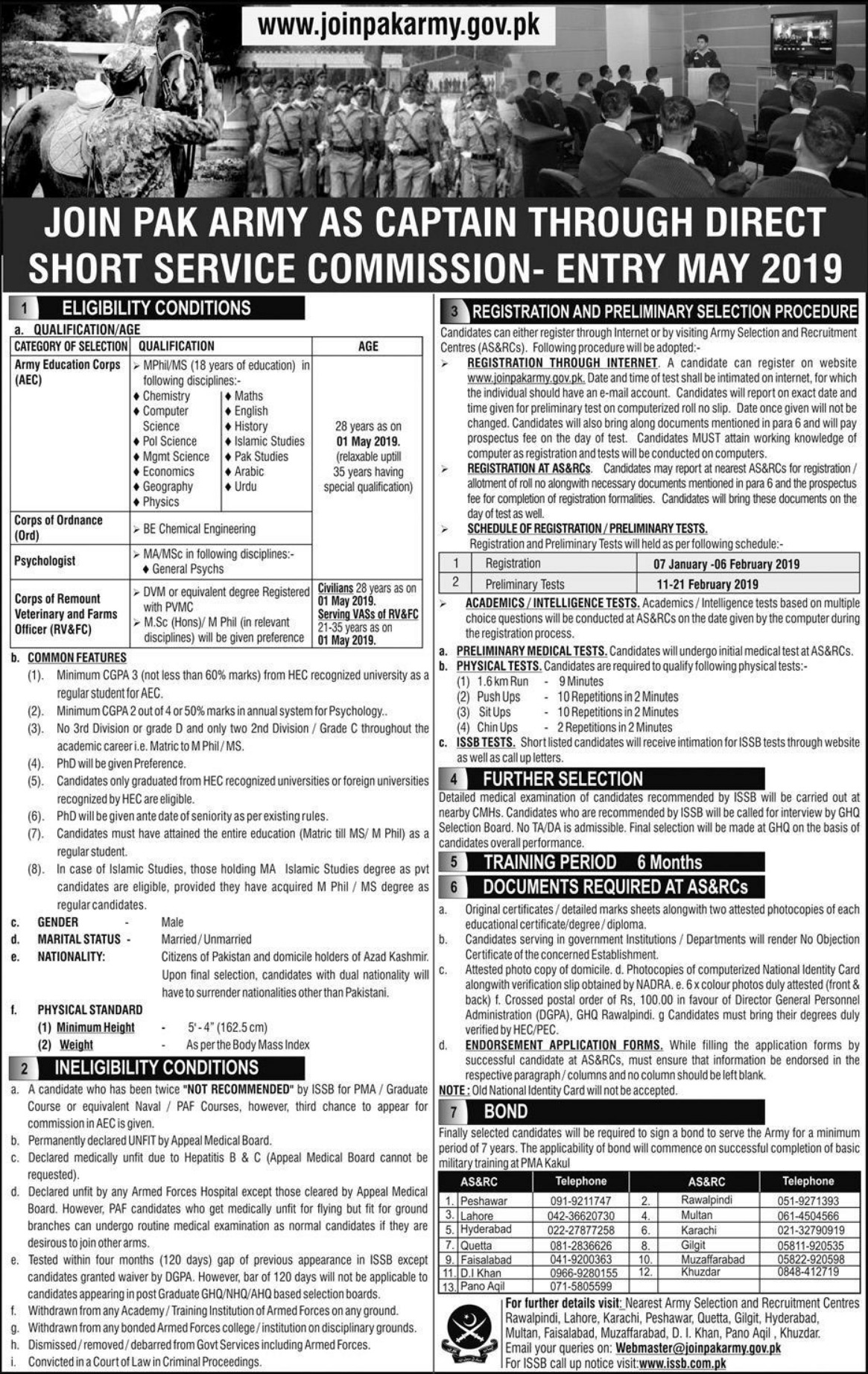 Join Pak Army as Captain through DSSC Entry May 2019