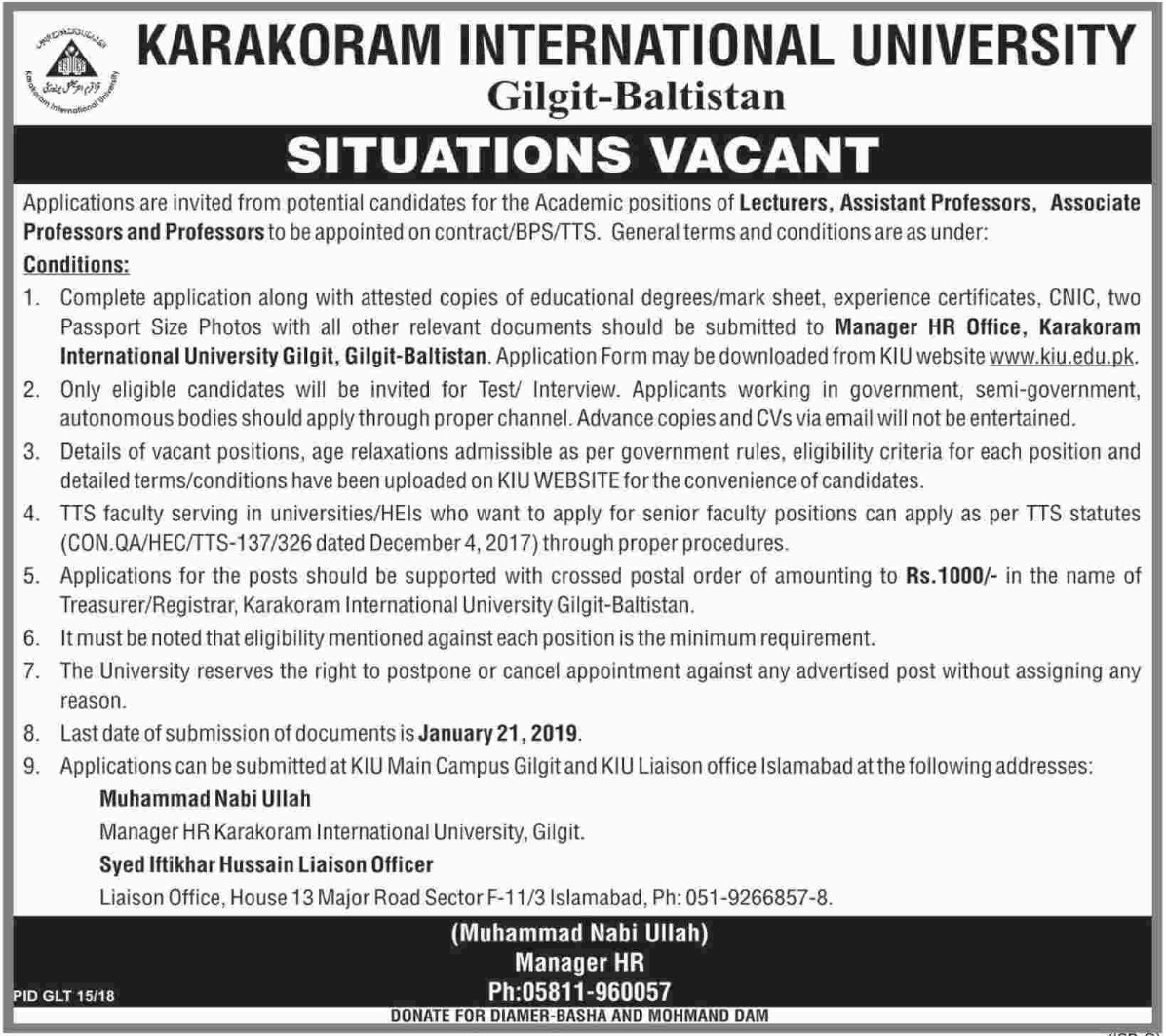 Karakoram International University Gilgit Baltistan Jobs 2019
