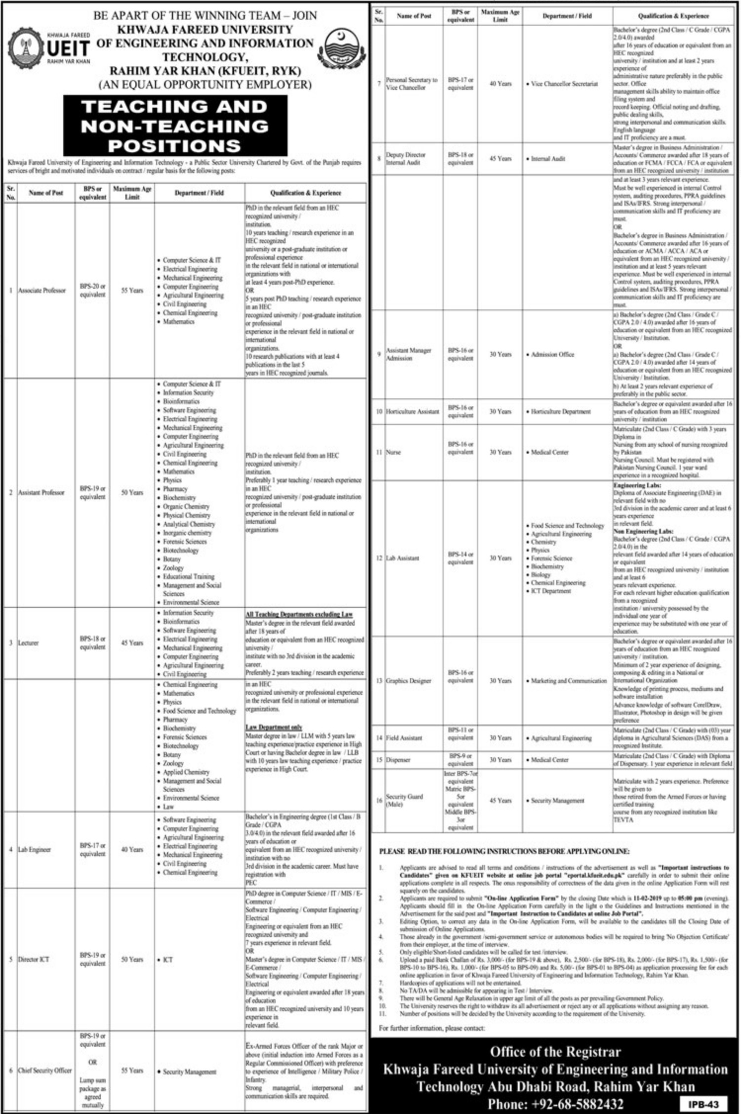 Khwaja Fareed University of Engineering & Information Technology Jobs 2019 KFUEIT RYK