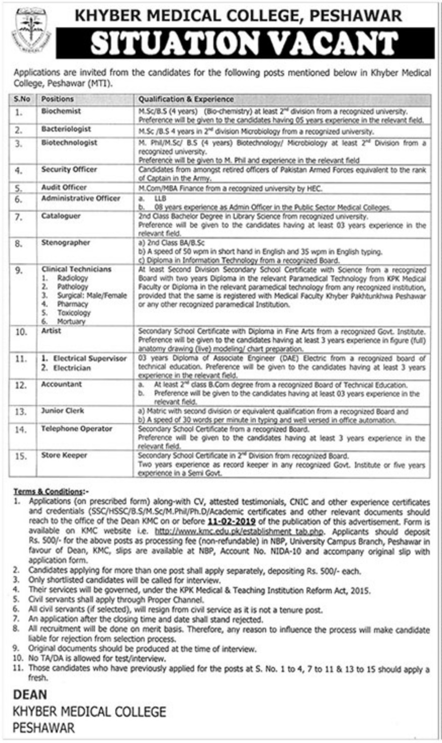 Khyber Medical College Peshawar Jobs 2019 KMC KPK