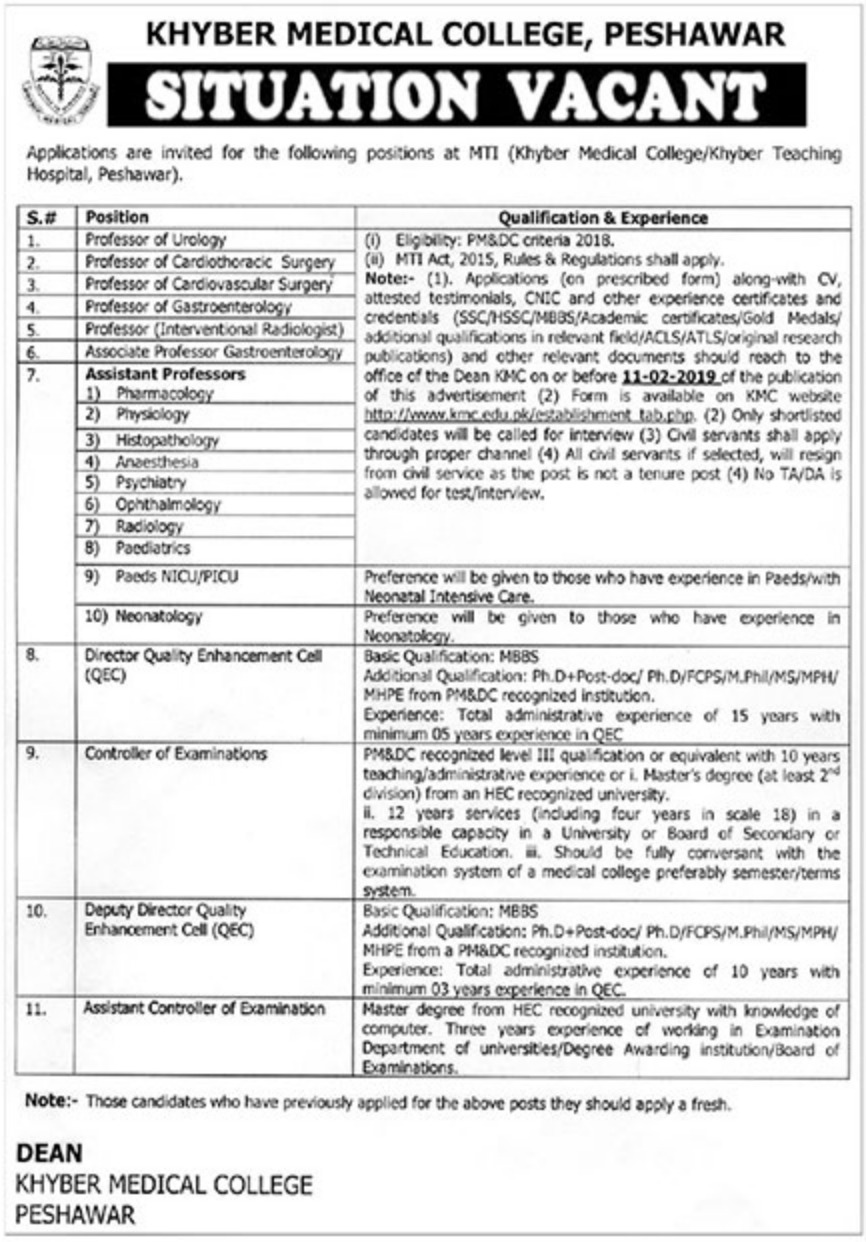 Khyber Medical College Peshawar Jobs 2019 KPK Latest