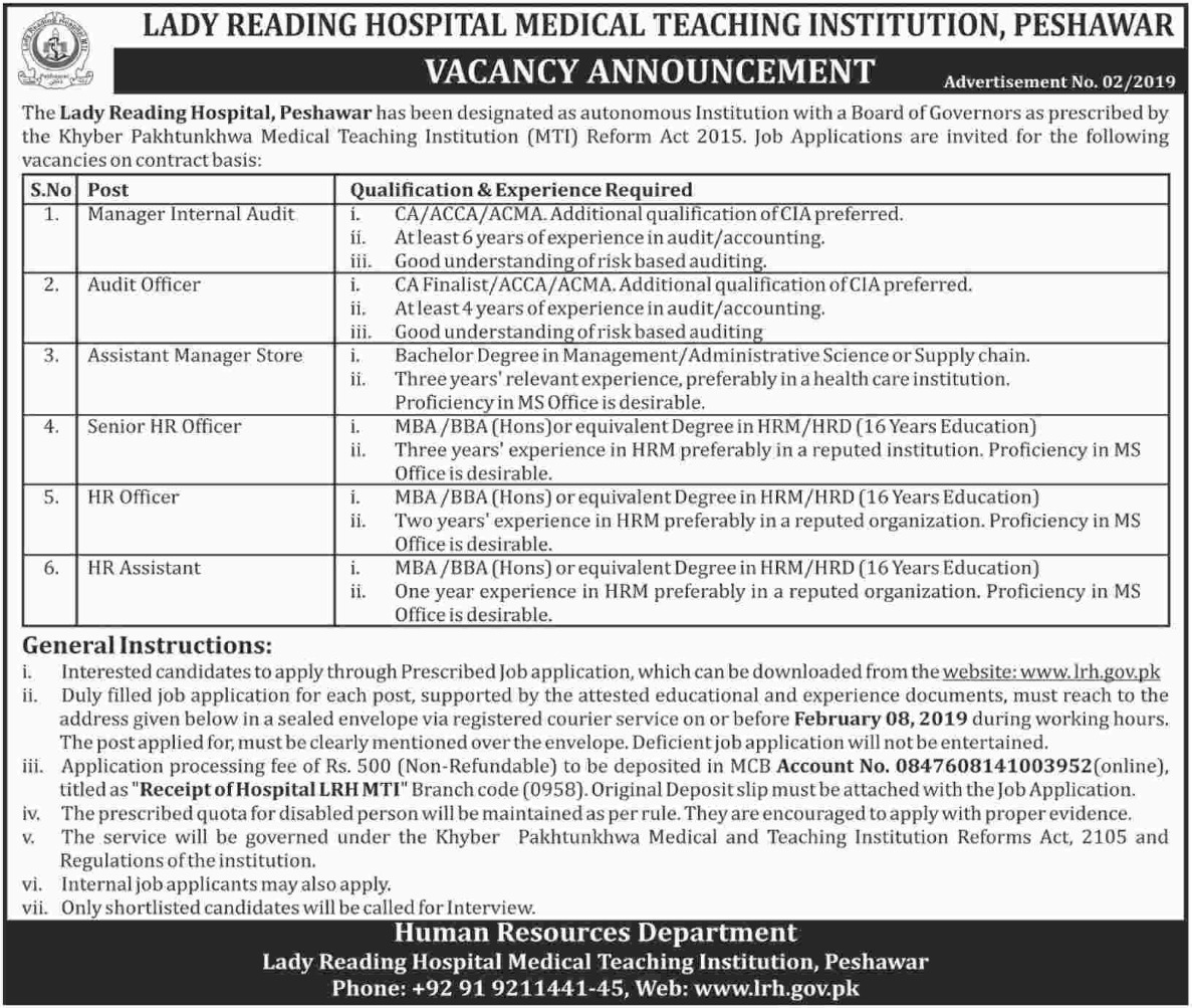 Lady Reading Hospital Peshawar Jobs 2019 Medical Teaching Institution