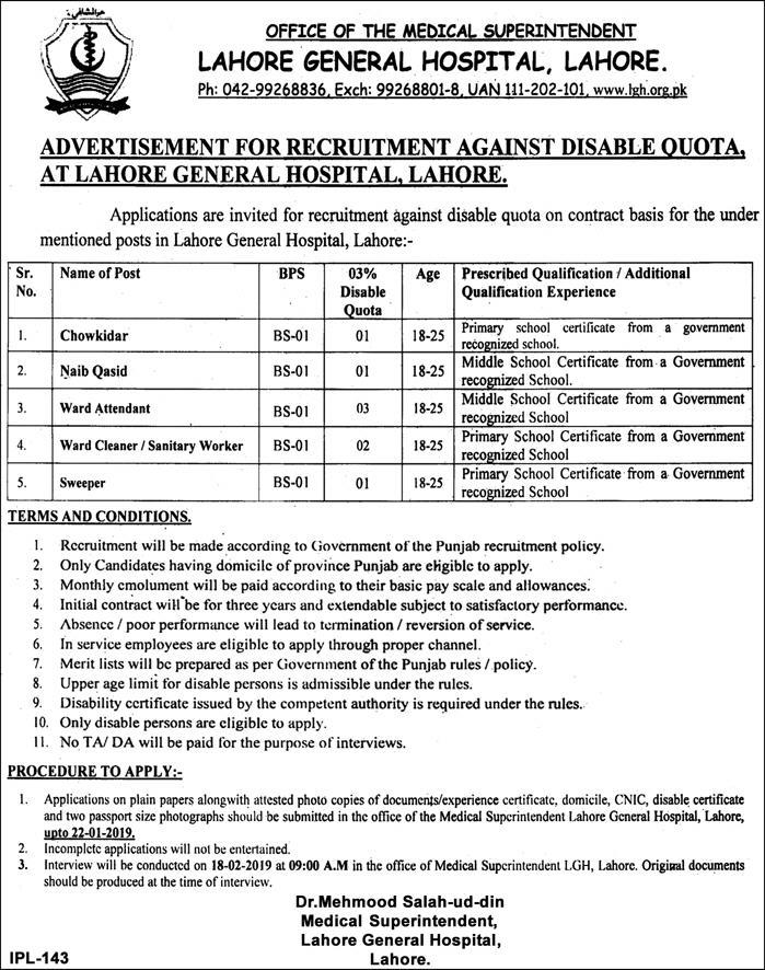 Lahore General Hospital Jobs 2019 LGH