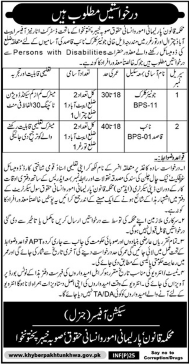 Law Parliamentary Affairs & Human Rights Department KPK Jobs 2019
