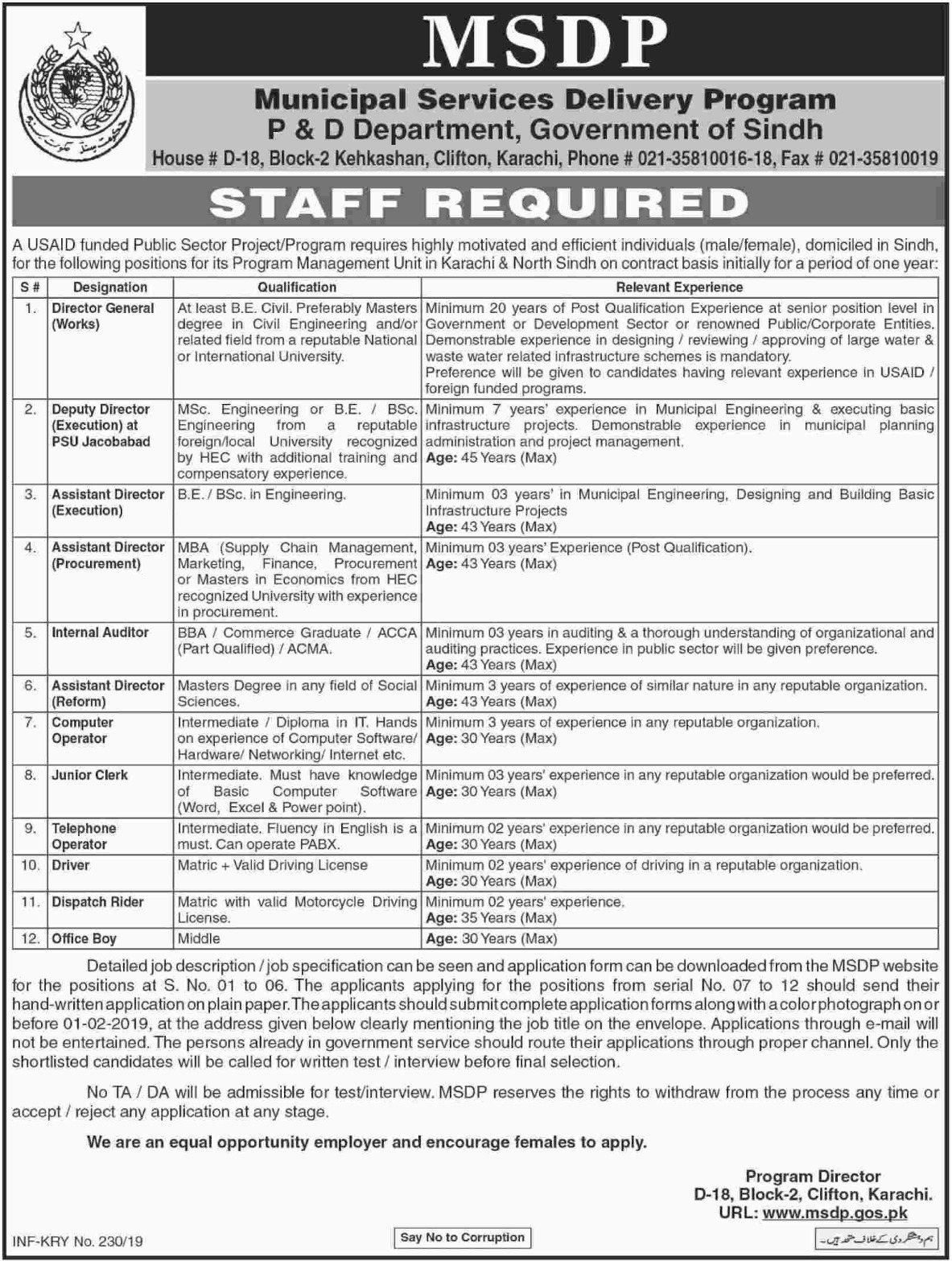 MSDP P&D Department Jobs 2019 Government of Sindh