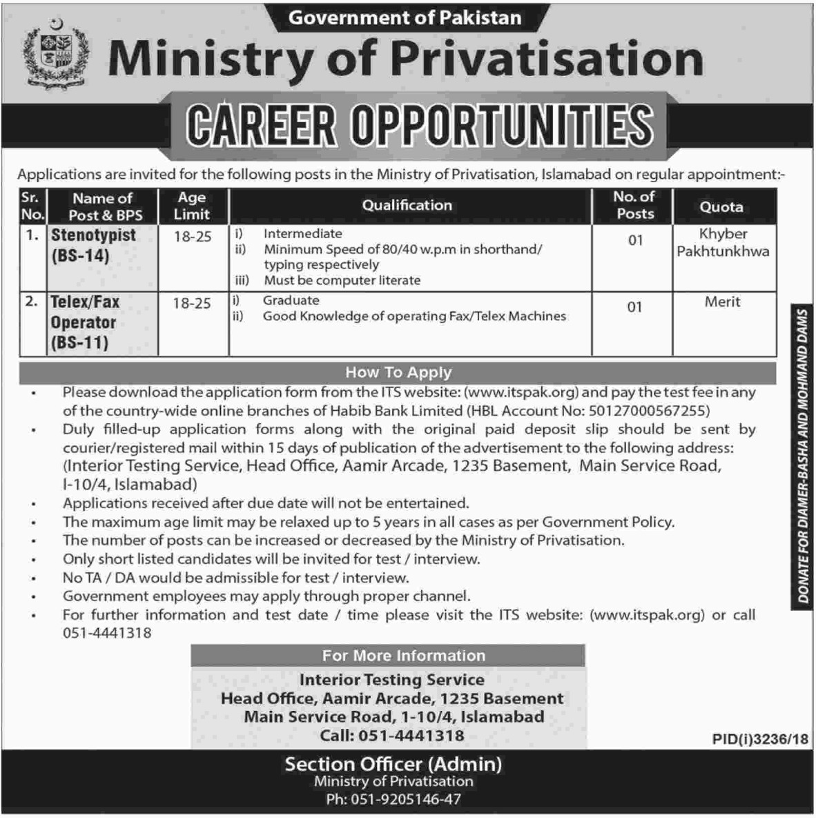 Ministry of Privatisation Jobs 2019 Government of Pakistan