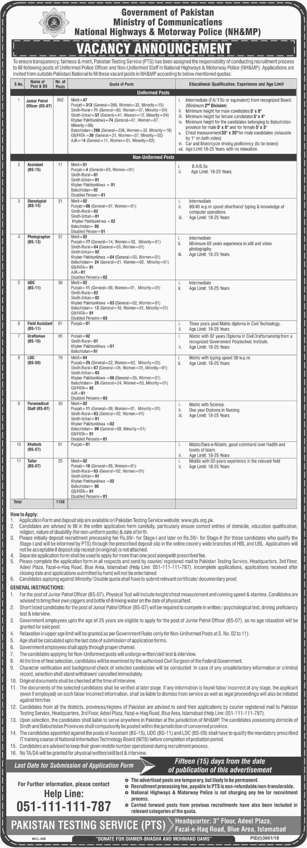 National Highways & Motorway Police Jobs 2019 Junior Patrol Officer