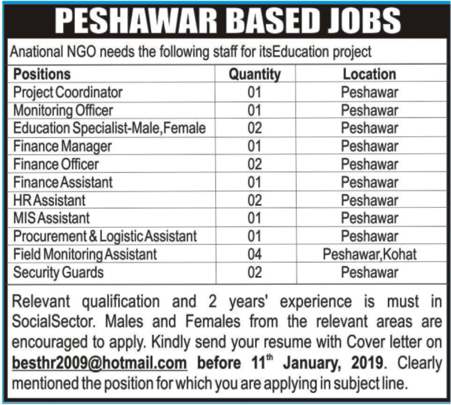 National NGO Peshawar Jobs 2019 KPK