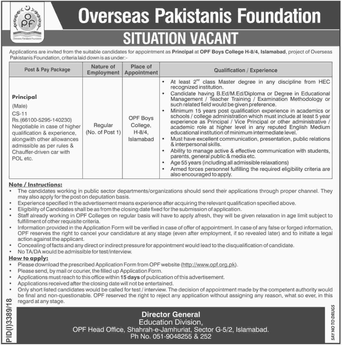 Overseas Pakistanis Foundation Jobs 2019 OPF Islamabad Latest