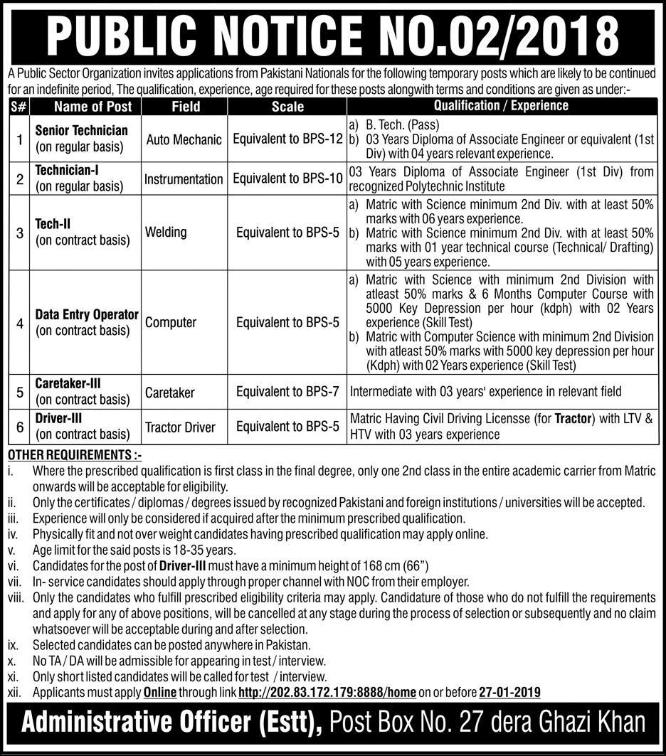 P.O.Box 27 D.G.Khan Jobs 2019 Latest