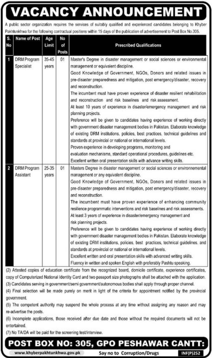 P.O.Box 305 Peshawar Jobs 2019 KPK Public Sector Organization