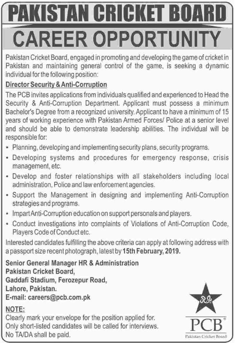 PCB Jobs 2019 Pakistan Cricket Board