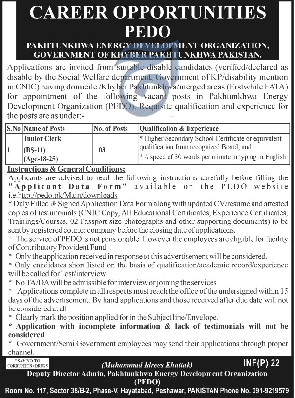 PEDO Peshawar Jobs 2019 KPK Energy Development Organization